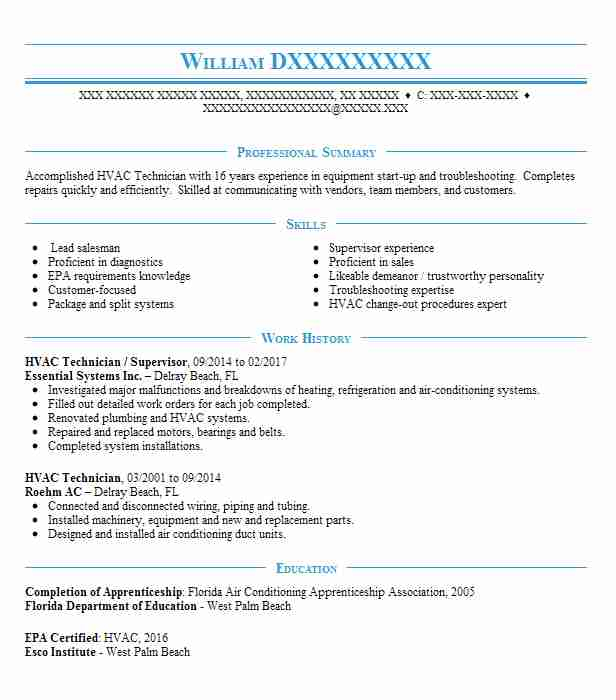 hvac supervisor resume example grizzly marine service