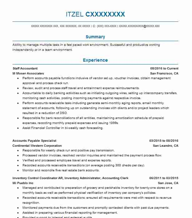 staff accountant objectives