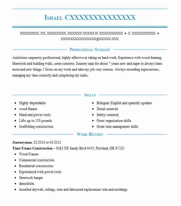 208 carpenters resume examples in oregon livecareer - Carpentry Resume Template