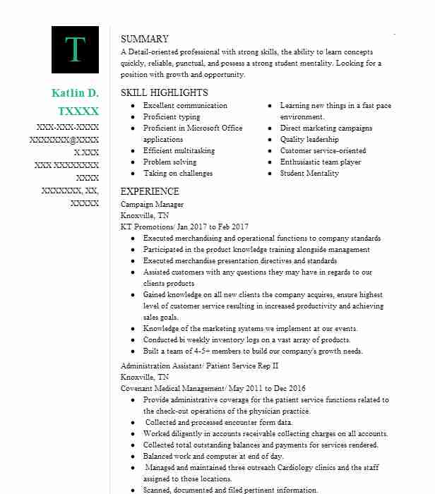 campaign manager resume sample