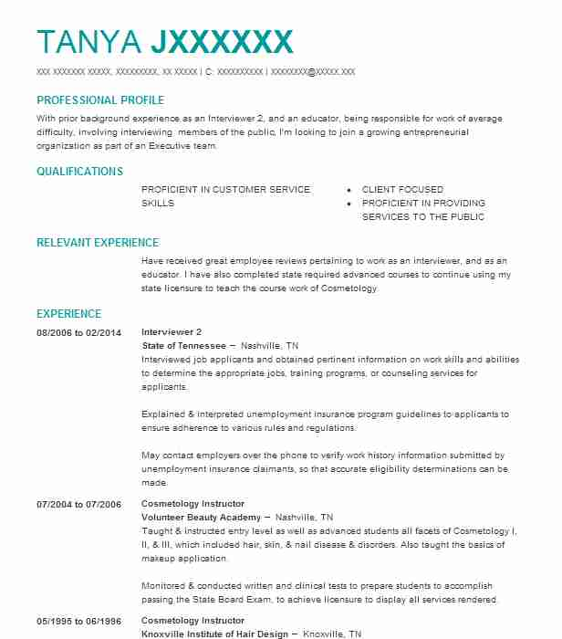 interviewer 2 - Vocational Counselor Resume