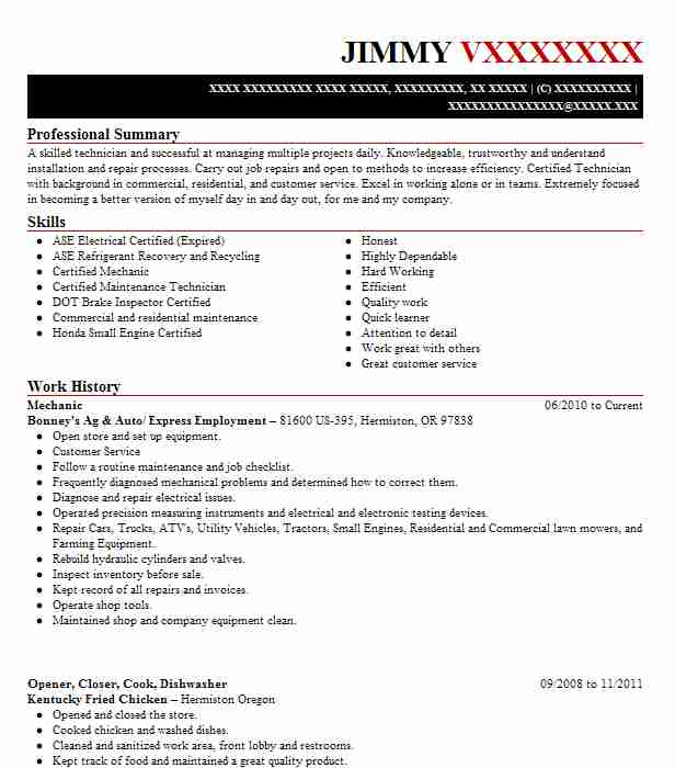 5 installation and repair resume examples in hermiston or mechanic sciox Image collections