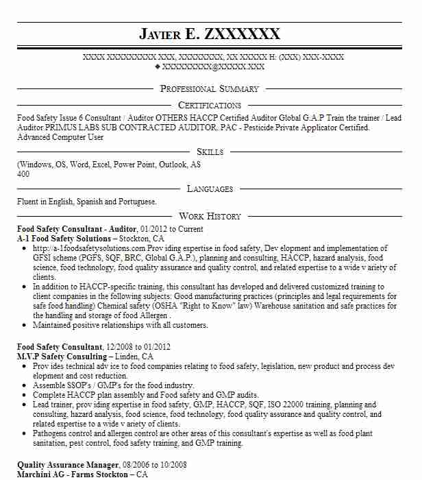 Food Safety Consultant Resume Example Berger Food Safety ...