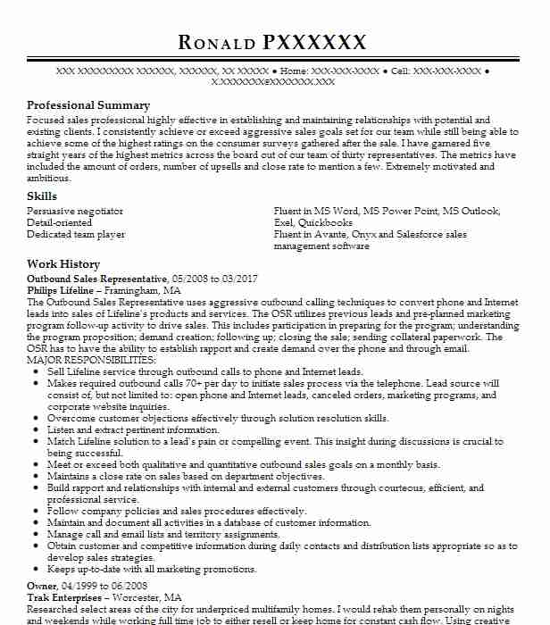 Sales Rep Sample Resume | Outbound Sales Representative Resume Sample Livecareer