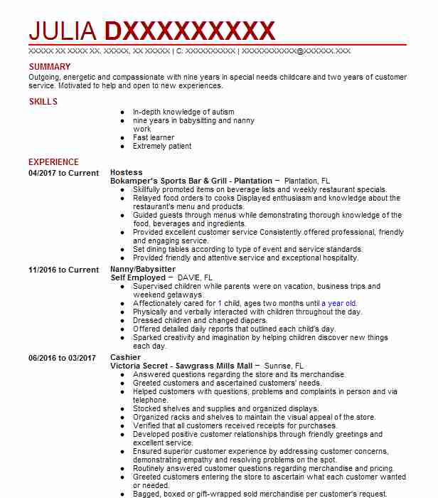 Hostess Resume Sample Resumes Livecareer