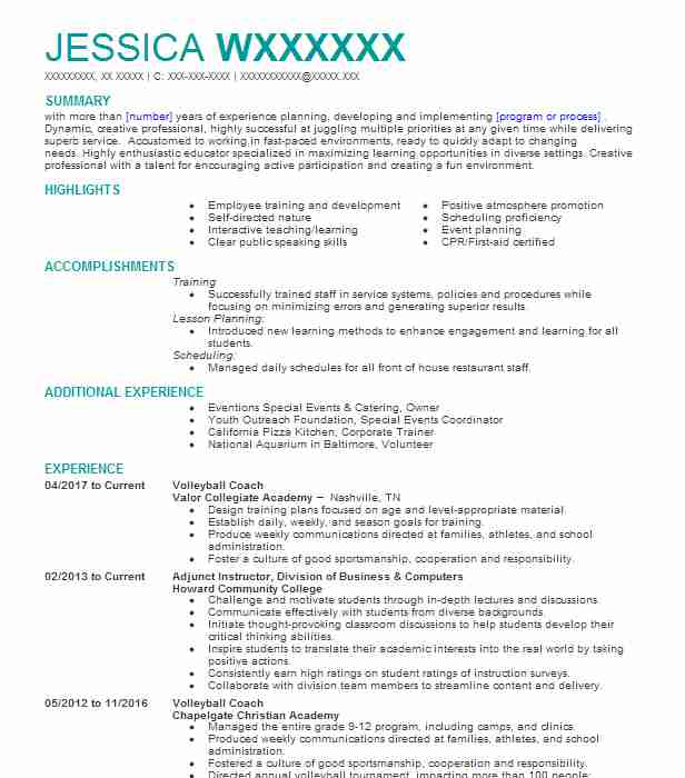 volleyball coach resume sample