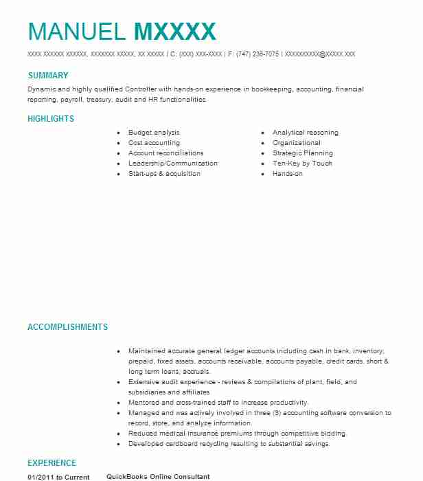 Quickbooks Consultant Resume Example Independent