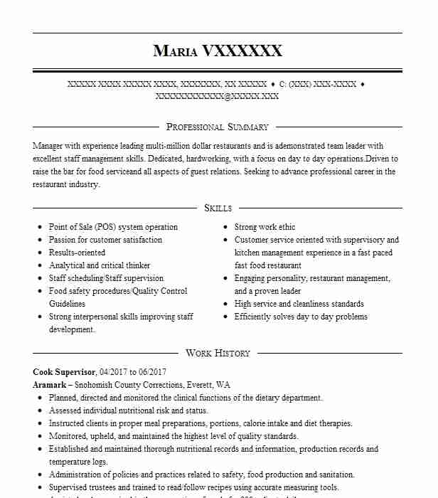 Cook Supervisor Resume Sample