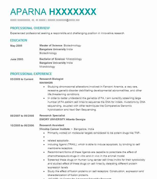Behavioral Neuroscience Research Biologist Resume Example Kelly
