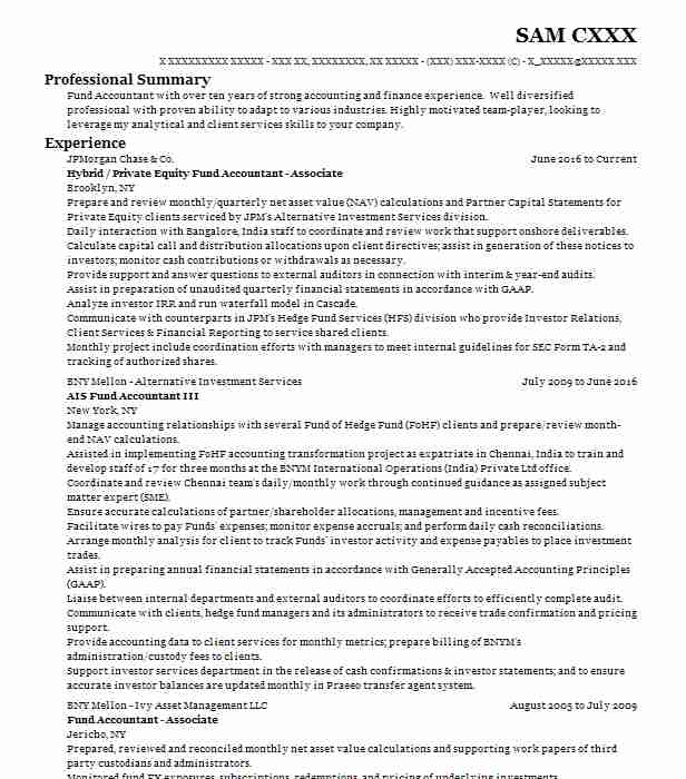 Private Equity Associate Resume Example Severn River