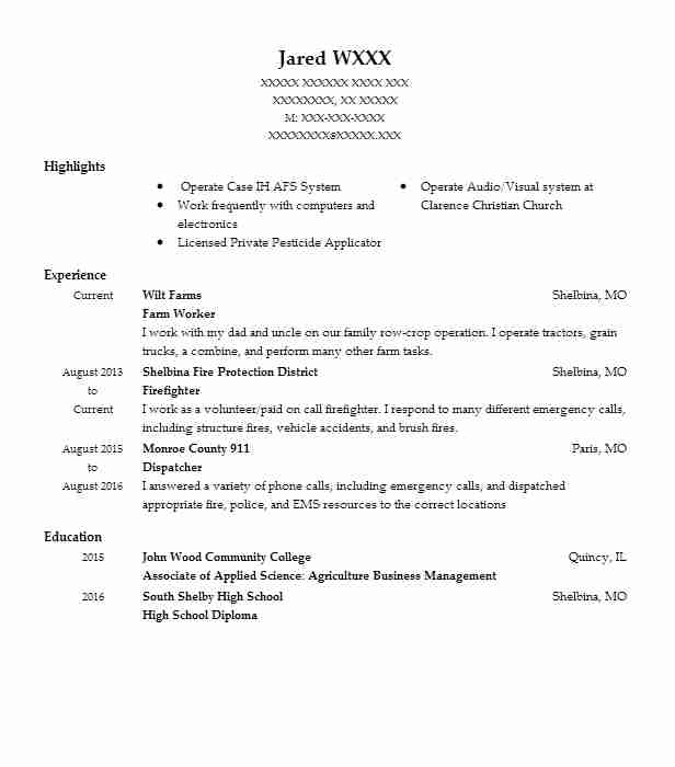 206 Farming Resume Examples in Missouri | LiveCareer