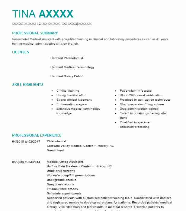 Phlebotomist Resume Example Catawba Valley Medical Center