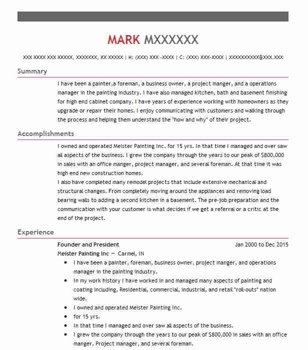 Painting Contractor Resume Example Whites Company