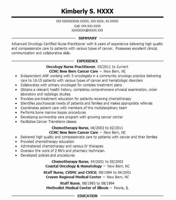 Oncology Nurse Practitioner Resume Example Renown Health Hematology Oncology Medical Group Reno Nevada