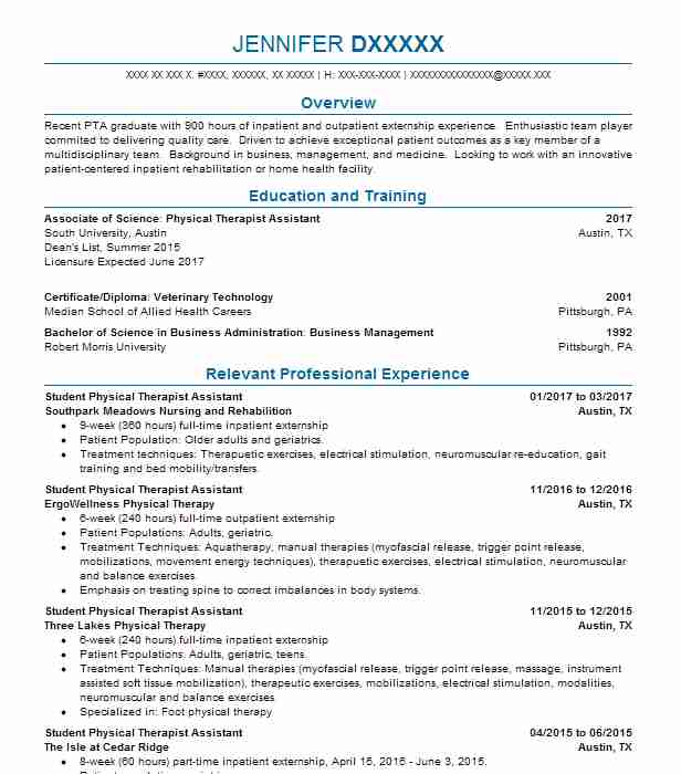 3995 Occupational And Physical Therapy Resume Examples in Texas ...