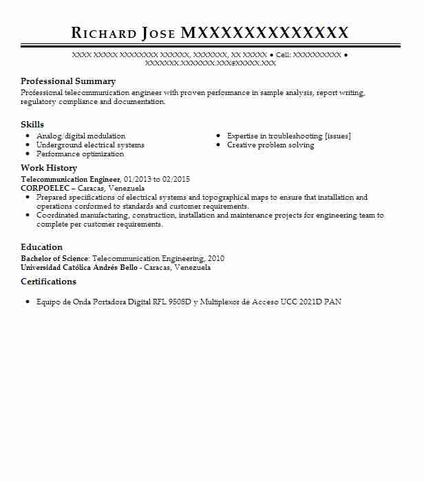 Wireless Engineer Sample Resume: Telecommunication Engineer Resume Sample