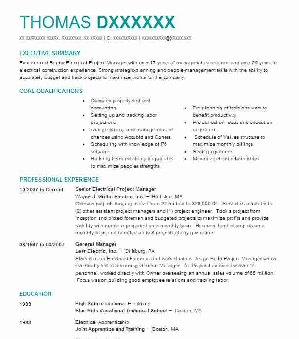 senior electrical project manager resume example h a  sack