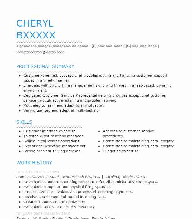 17 Administrative Support Resume Examples In Westerly, Ri | Livecareer