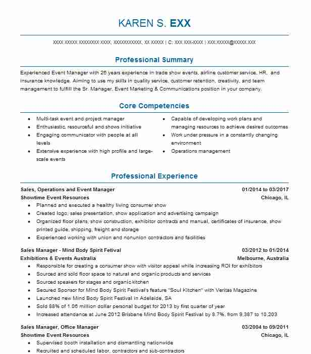 Sales, Operations And Event Manager Resume Example (Showtime Event ...