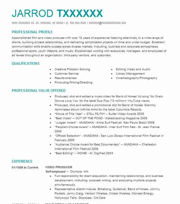 77 Directors And Producers (Entertainment And Media) Resume Examples ...