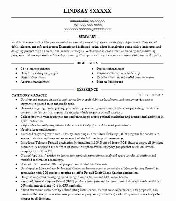 senior category manager resume example del monte foods
