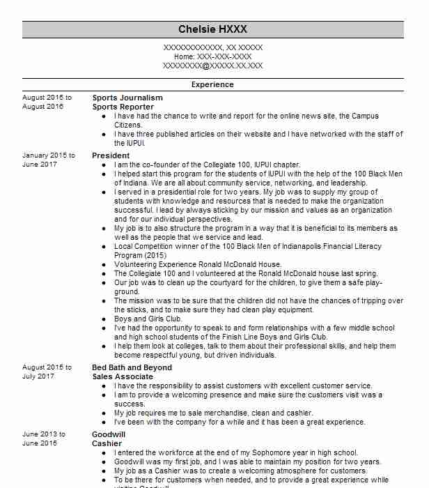 Sports reporter resume sample students paying for essay