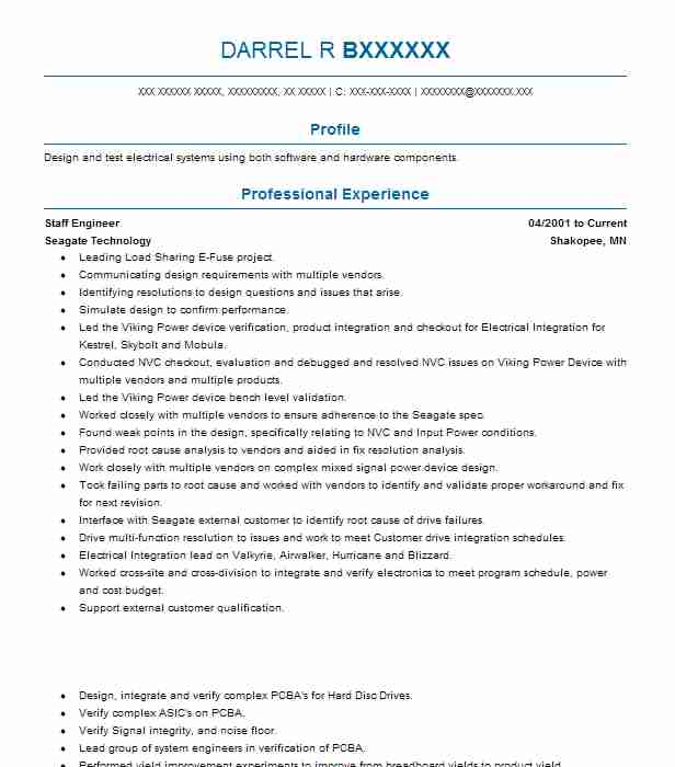 Staff Engineer  Design Engineer Resume