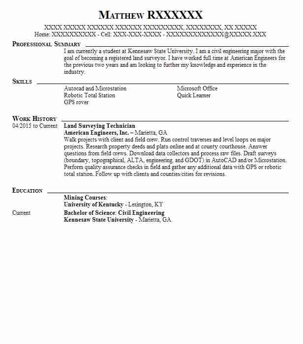 land surveying technician land surveyor resume sample - Resume Questionnaire Template