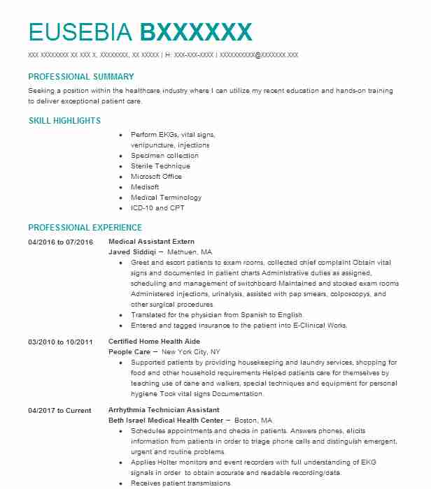 Medical Assistant Extern Resume Example (Javed Siddiqi) - Lawrence ...