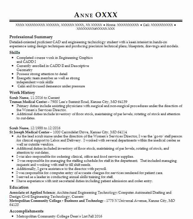 scrub nurse resume sample