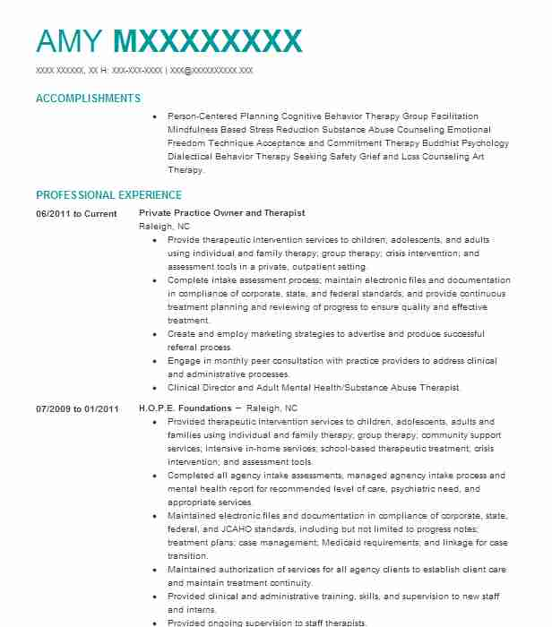 Therapist Private Practice Resume Example Private Practice