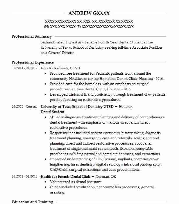 Pre Dental Attendee Resume Example University Of Maryland