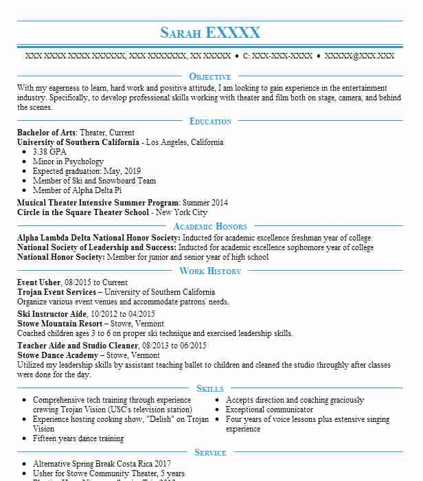 event usher resume example palace theater