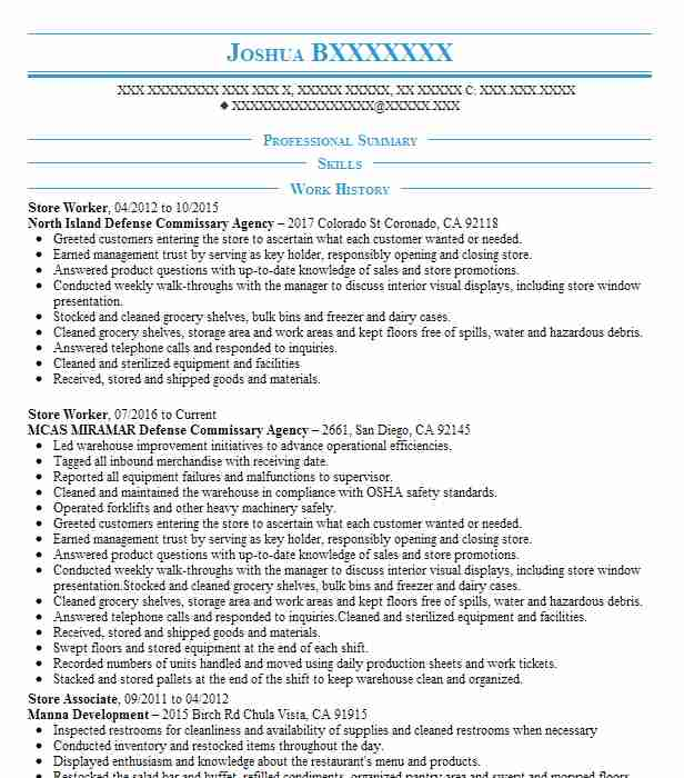store worker resume sample