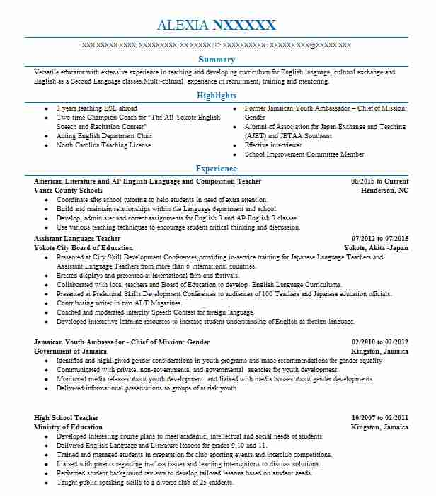 337 english as a second language resume examples in north carolina