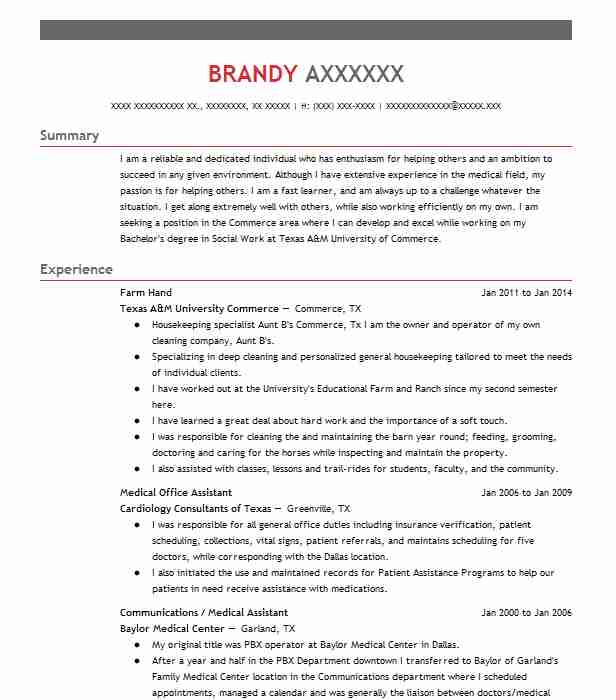 find resume examples in commerce  tx