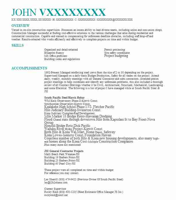top construction management construction resume - Construction Management Resume