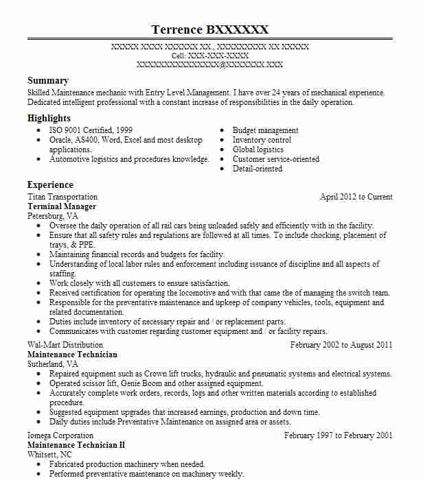 Best Industrial Maintenance Mechanic Resume Example LiveCareer