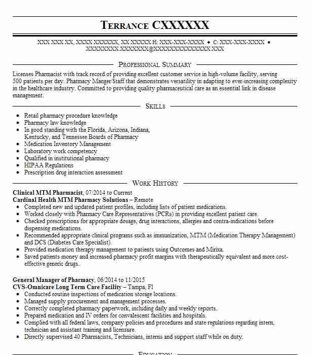 Clinical Mtm Pharmacist Resume Example Cardinal Health