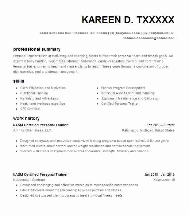 Nasm Certified Personal Trainer Resume Example Am The One