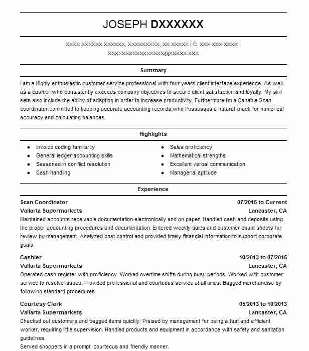scan coordinator resume example sprouts farmers market