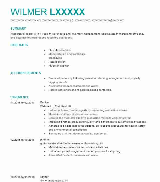 Packer Resume Example Amazon Warehouse - Lakeland, Florida