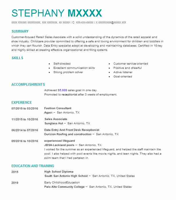 Fashion Consultant Resume Sample | Resumes Misc | LiveCareer