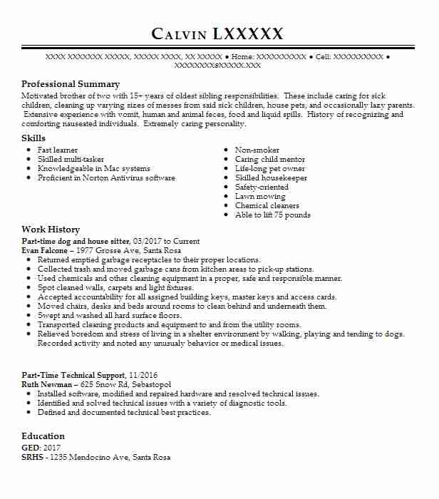 dog walkersitter and house sitter resume example self
