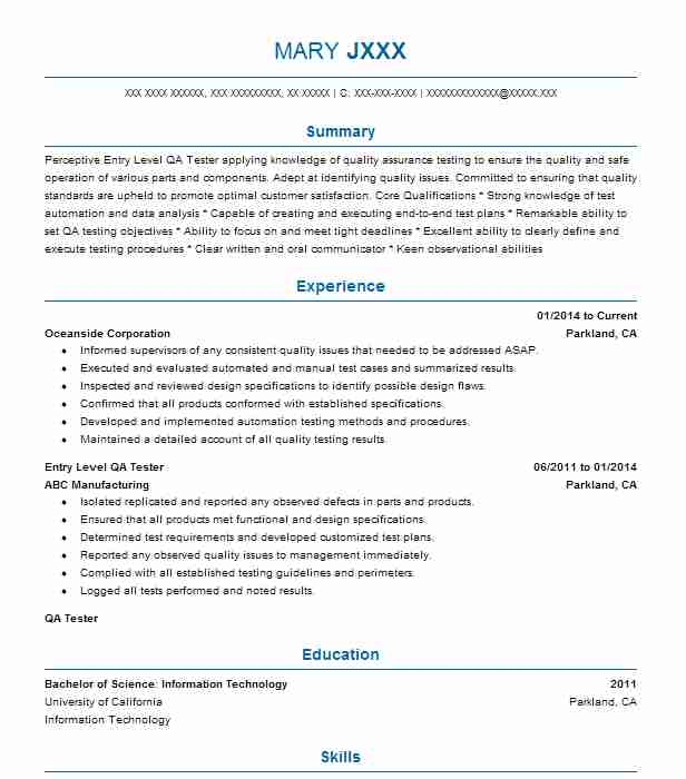 Entry Level Qa Tester Resume Sample Entry Level Resumes LiveCareer