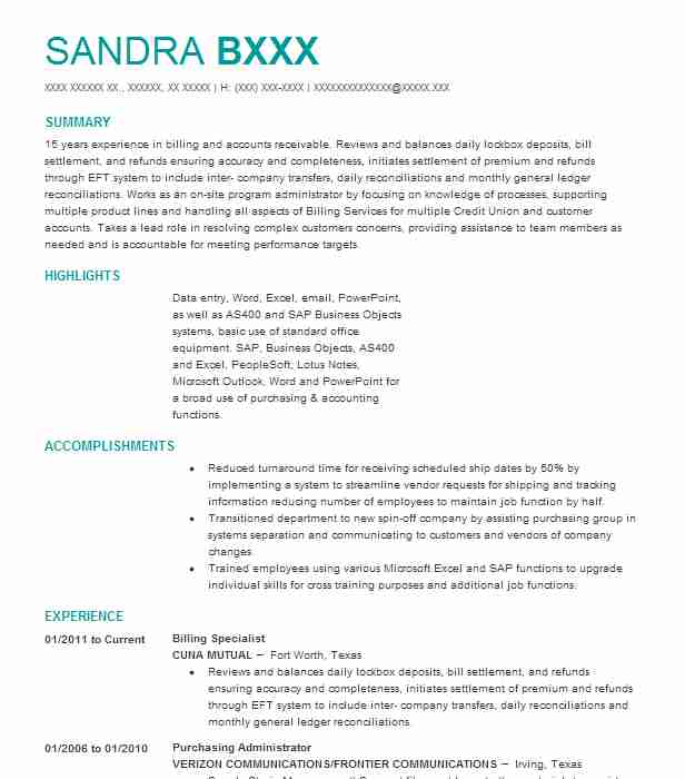 Billing Specialist Resume Sample | Accountant Resumes | LiveCareer