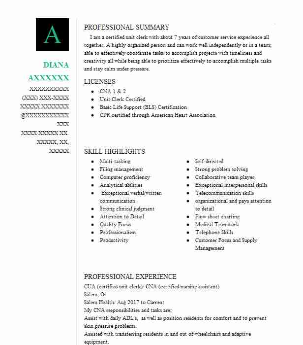 Cua Certified Unit Clerk Cna Certified Nursing Assistant Resume