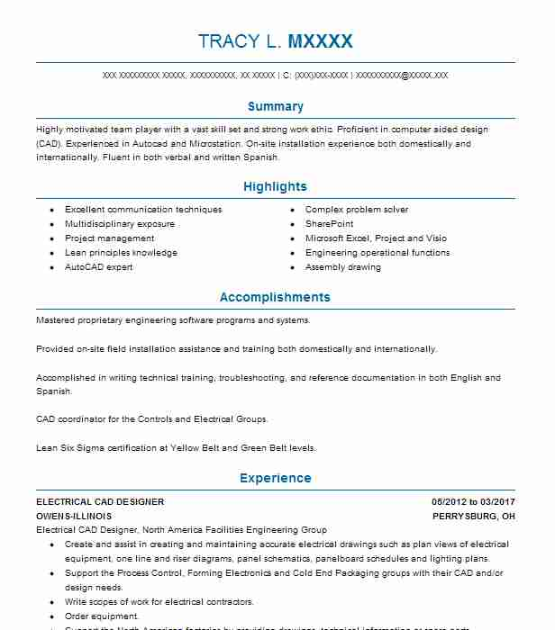 ELECTRICAL CAD DESIGNER Resume Example OWENS ILLINOIS Perrysburg