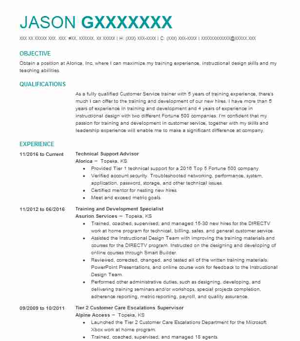 training and development specialist resume sample