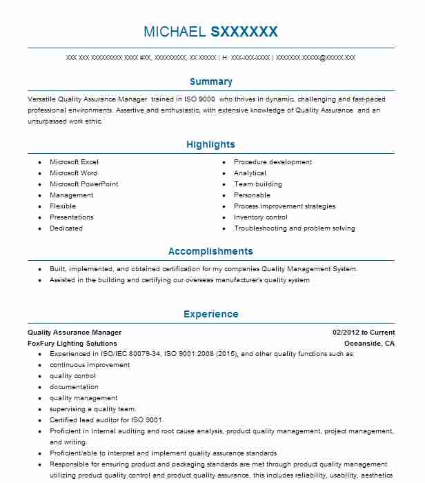 quality assurance    haccp manager resume example ohio university culinary services